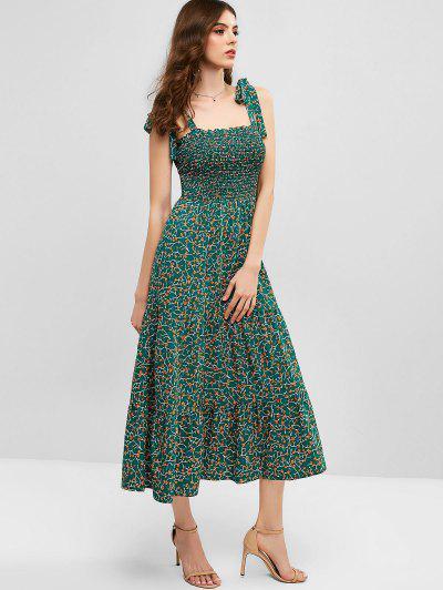 ZAFUL Ditsy Floral Tie Shoulder Smocked Midi Dress, Greenish blue