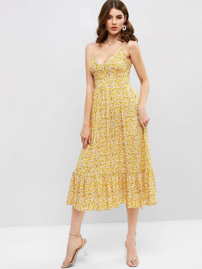 551f8052 ZAFUL Shirred Tiny Floral Cami Dress - Bee Yellow M ...