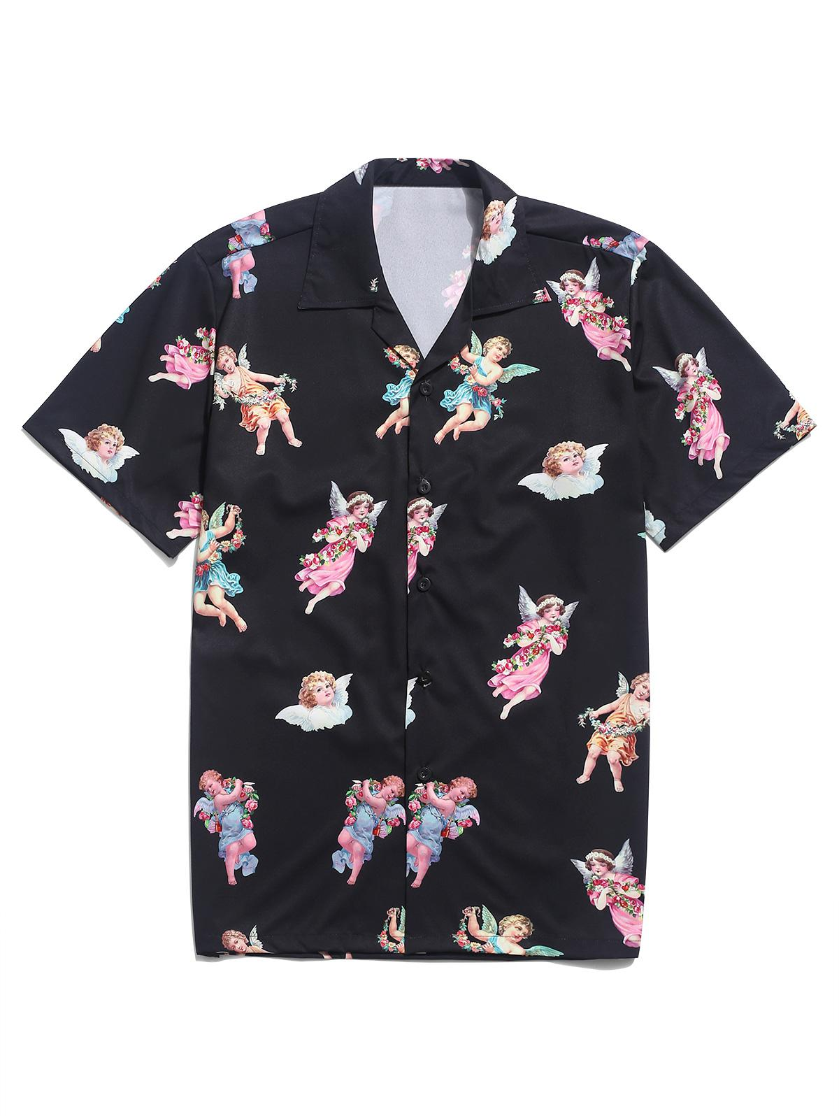Paradise Floral Angel Print Beach Shirt thumbnail