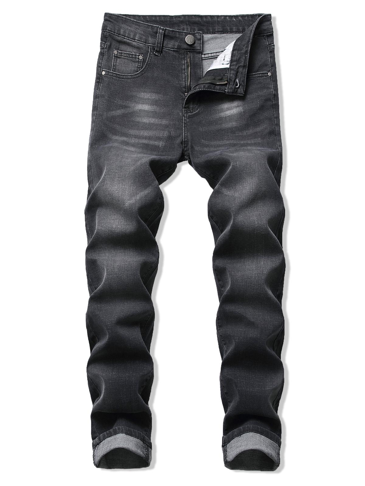 Multi Tasche E Cerniera Volare Lungo Rettilineo Jeans