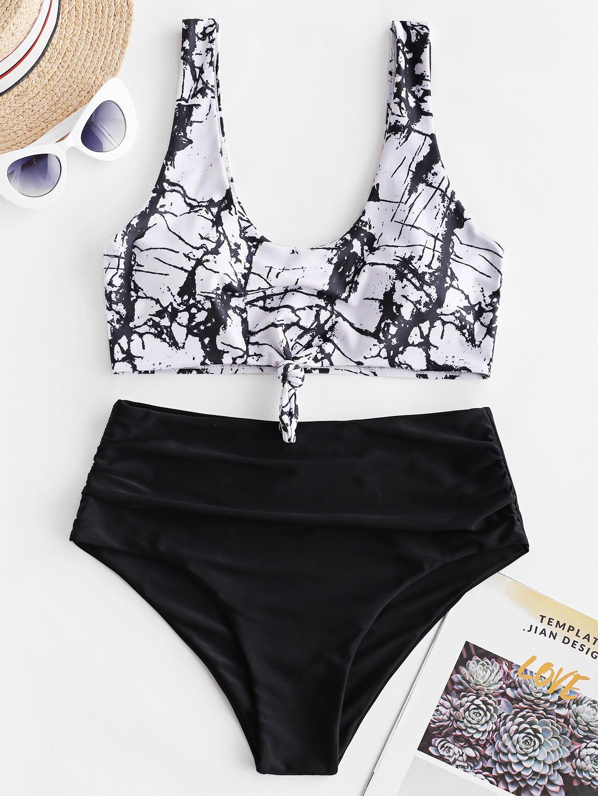 ZAFUL Marble Print Knotted Tummy Control Tankini Swimwear  - buy with discount