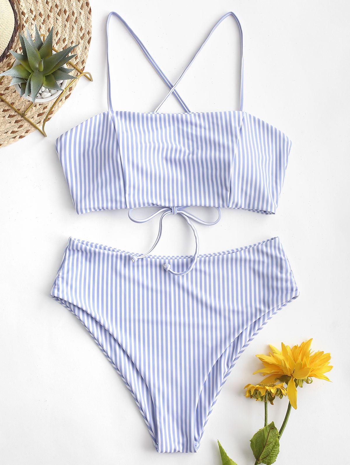 ZAFUL Lace-up Striped High Waisted Bikini Swimsuit thumbnail