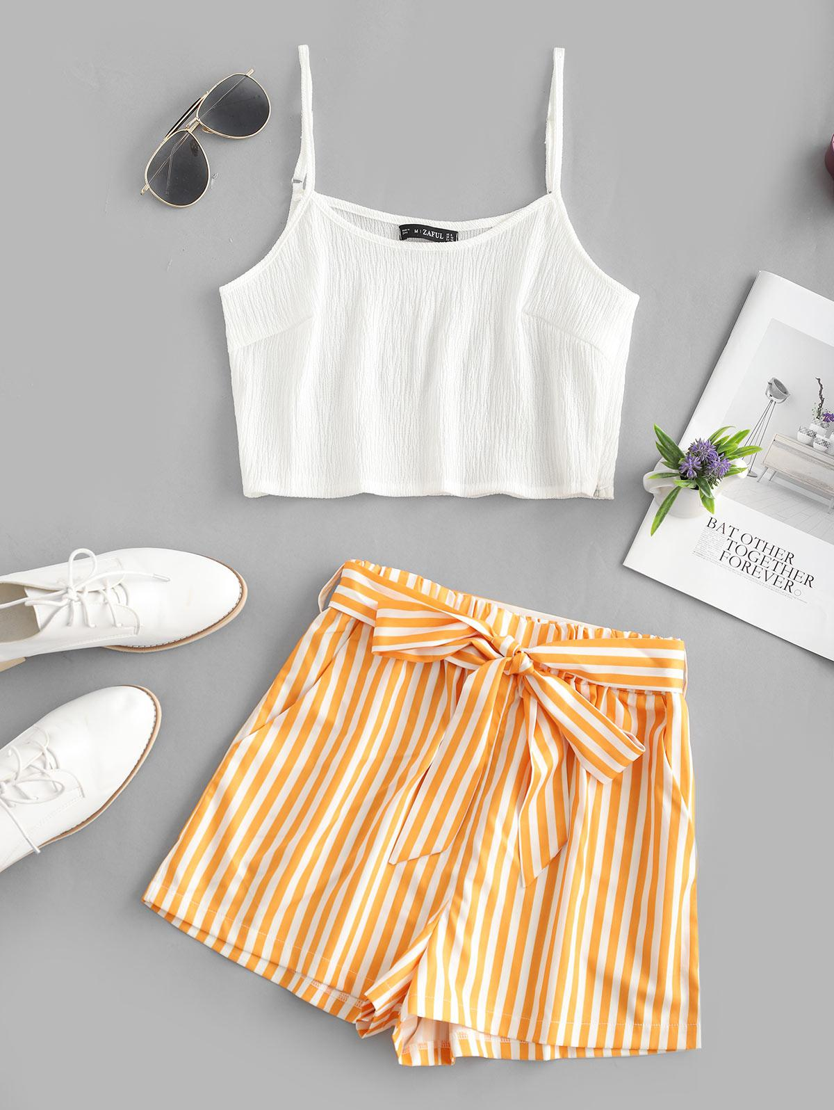 Crop Cami Top and Striped Belted Shorts Set, Bee yellow