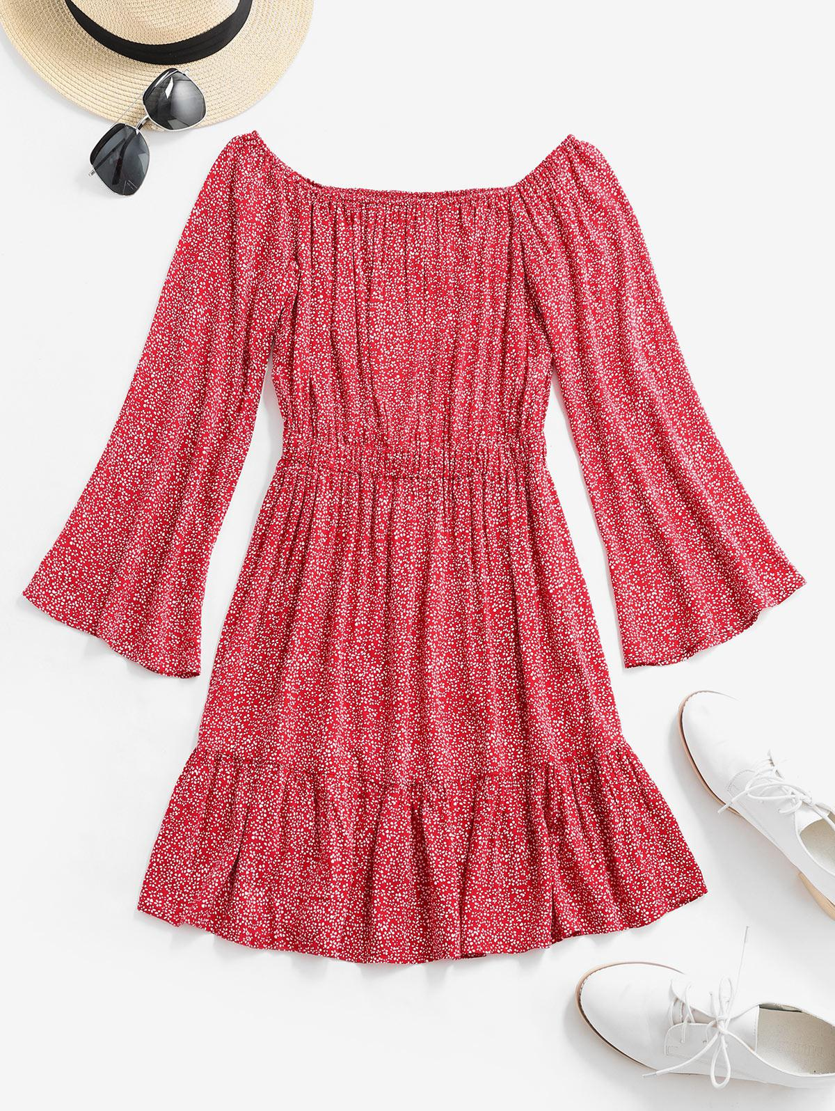 ZAFUL Off Spalla Piccolo Floreale Flare Dress