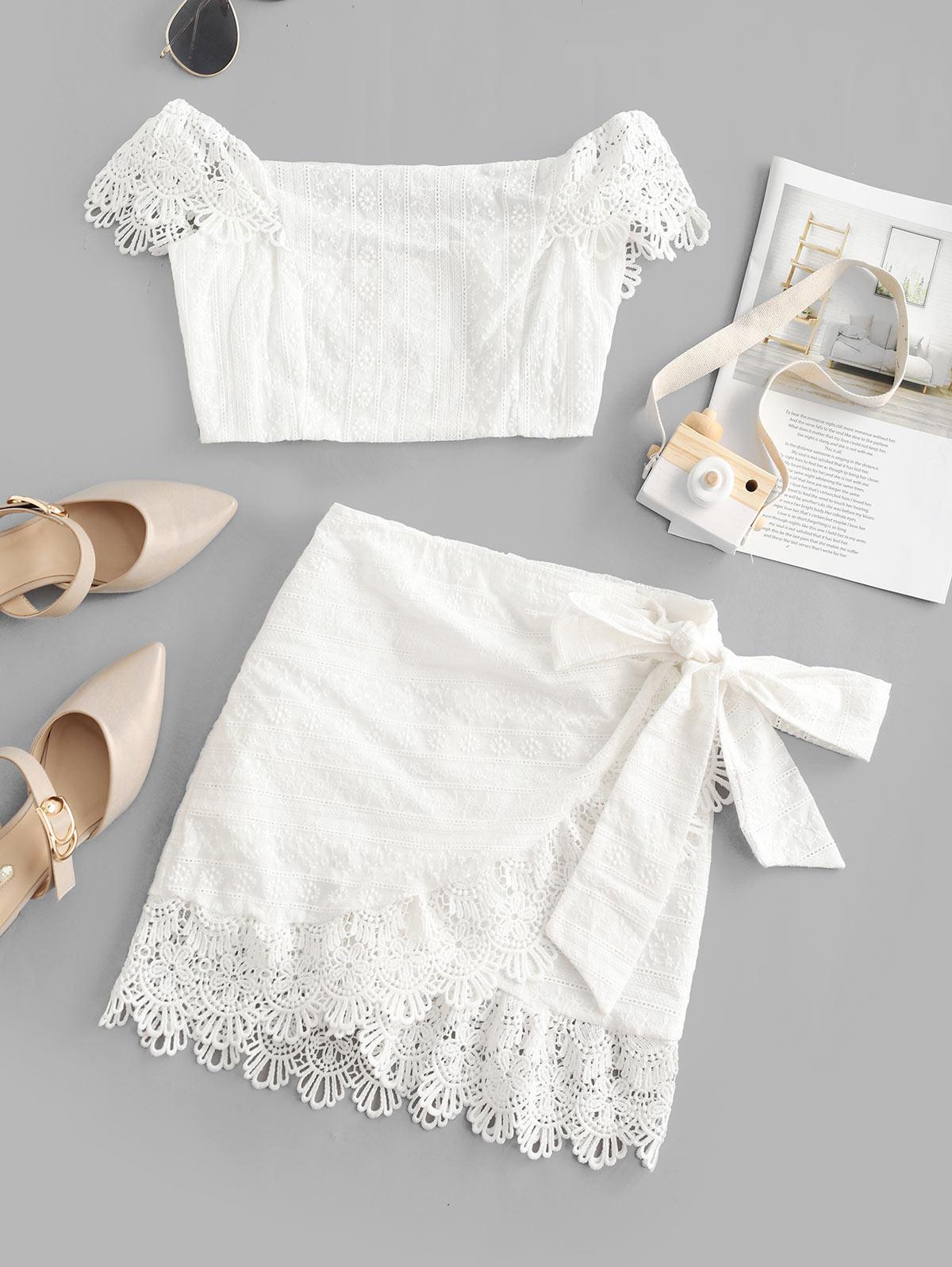 Crochet Lace Panel Overlap Off Shoulder Two Piece Dress, White