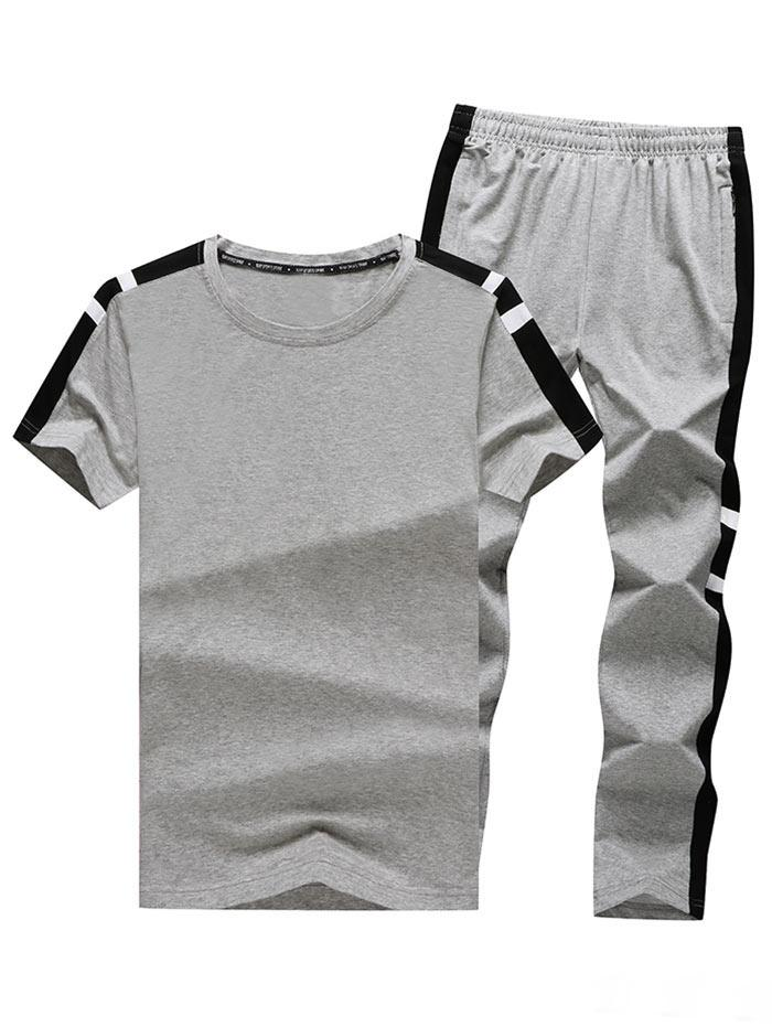 Striped Color Block Panel Casual T-shirt and Long Pants, Gray goose