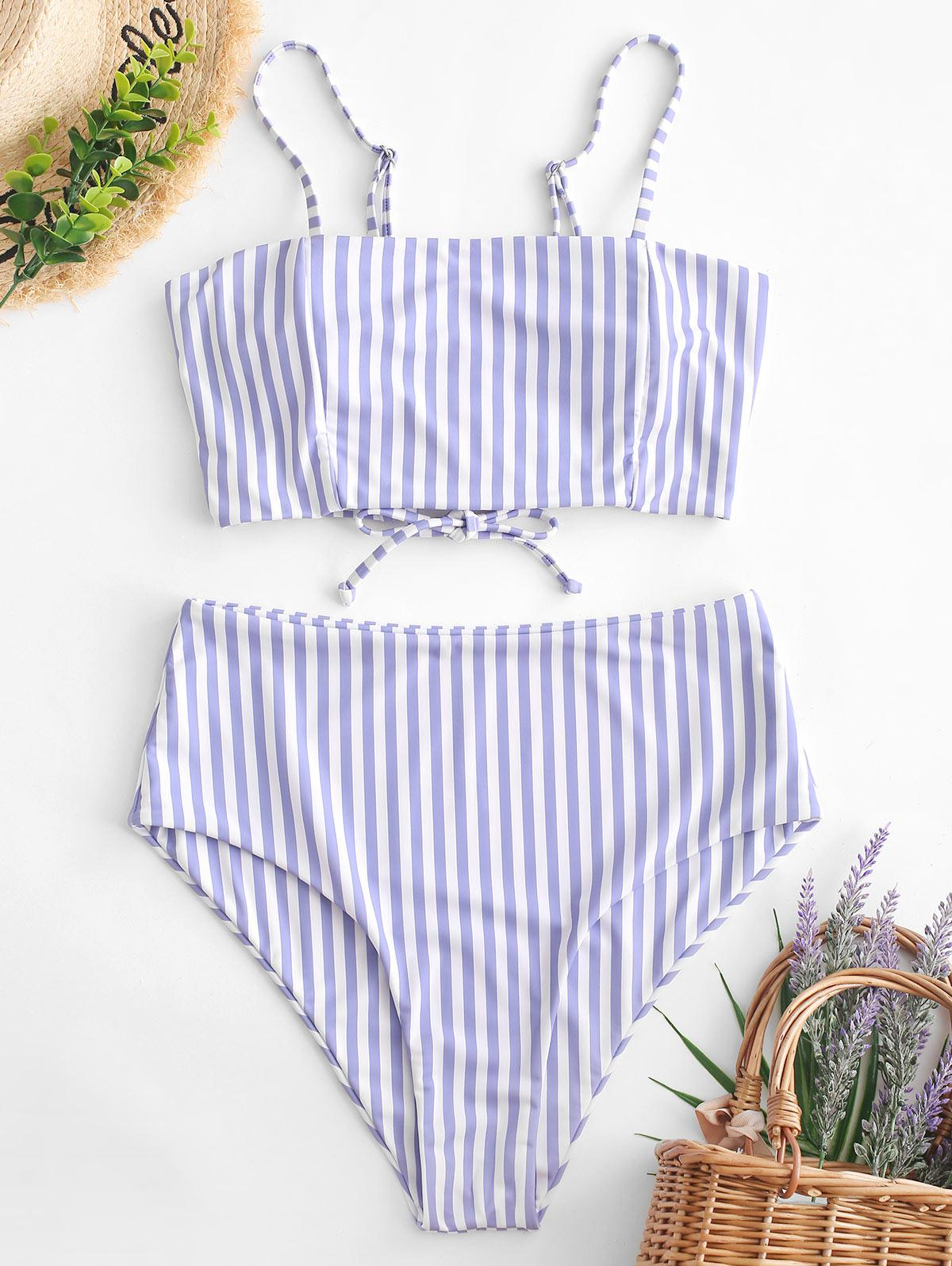 ZAFUL Striped Lace Up High Waisted Tankini Swimwear, Multi-a