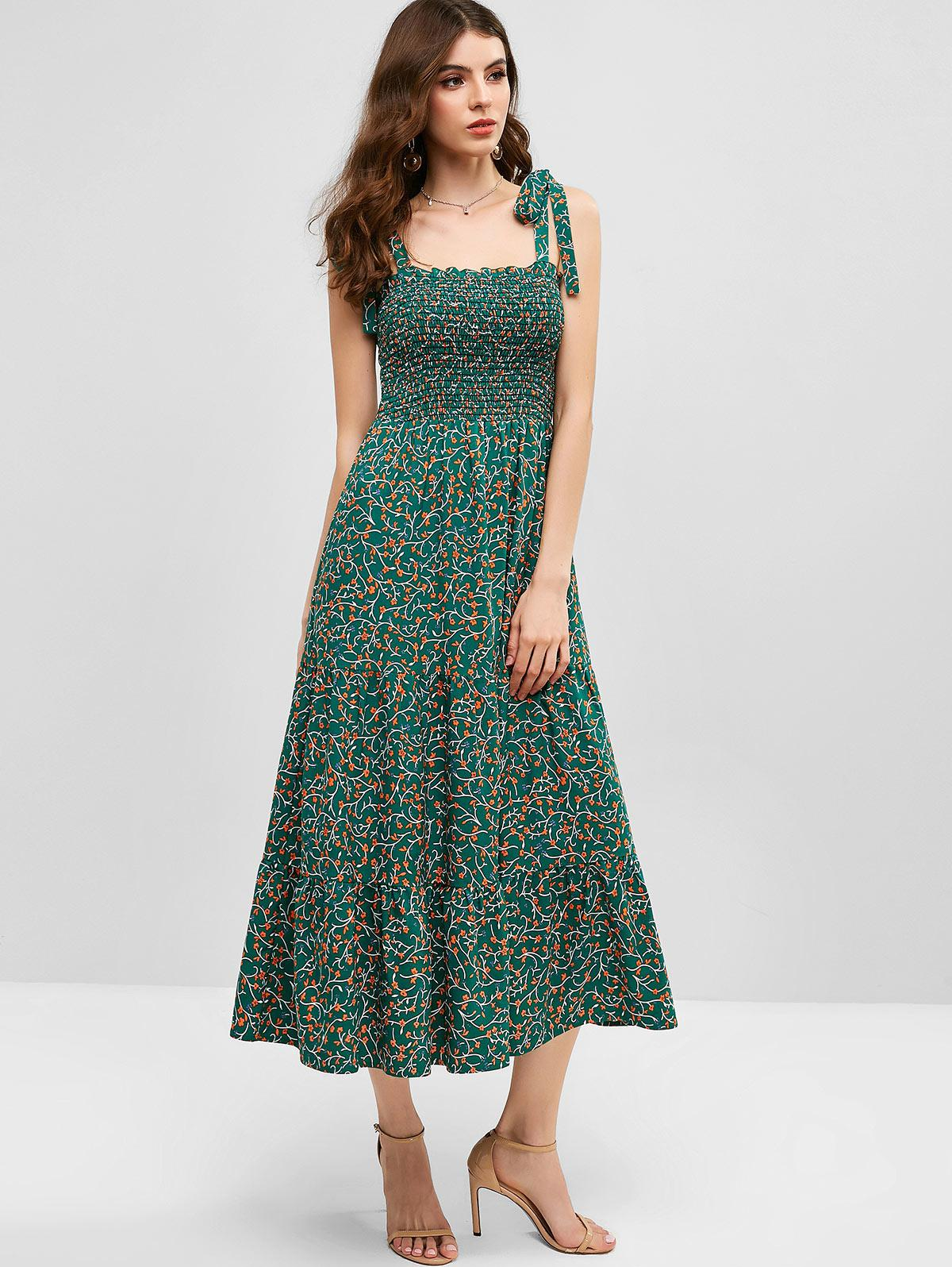 ZAFUL Ditsy Floral Tie Shoulder Smocked Midi Dress, Greenish blue