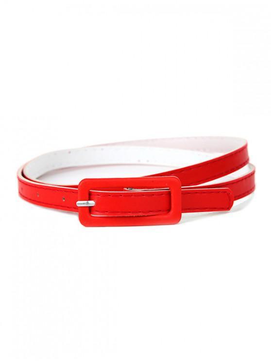 Cintura in vita con fibbia in pelle sottile PU - Rosso