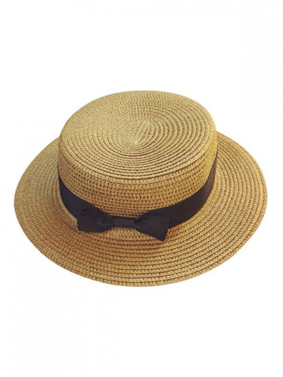 fashion Bowknot Flat Straw Sun Hat - KHAKI