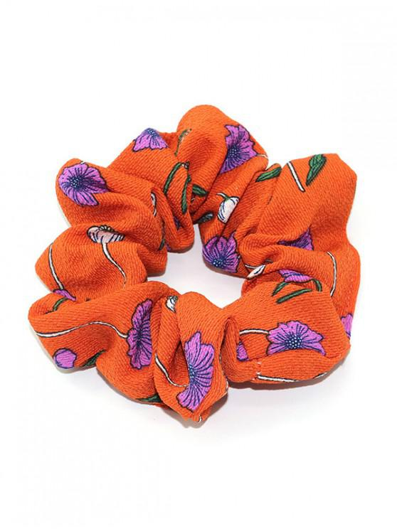hot Tiny Floral Print Elastic Hair Tie - TANGERINE