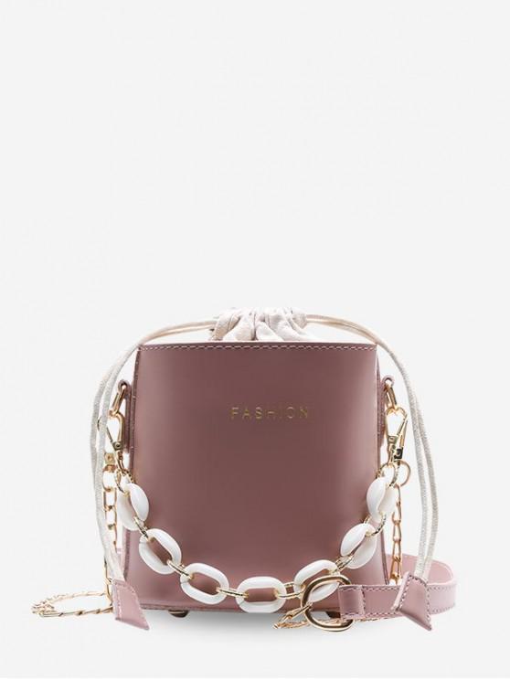 Borsa a secchiello casual a forma di catena - Rosa