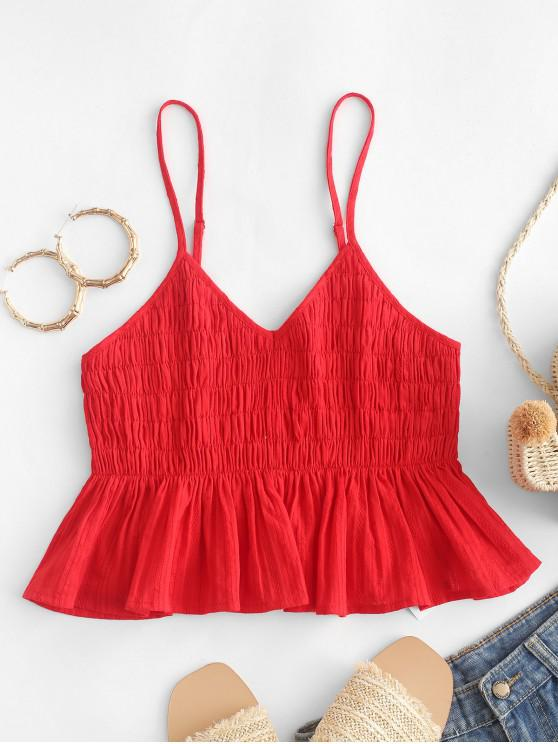 ladies ZAFUL Shirred Cotton Flounce Cami Top - LAVA RED M