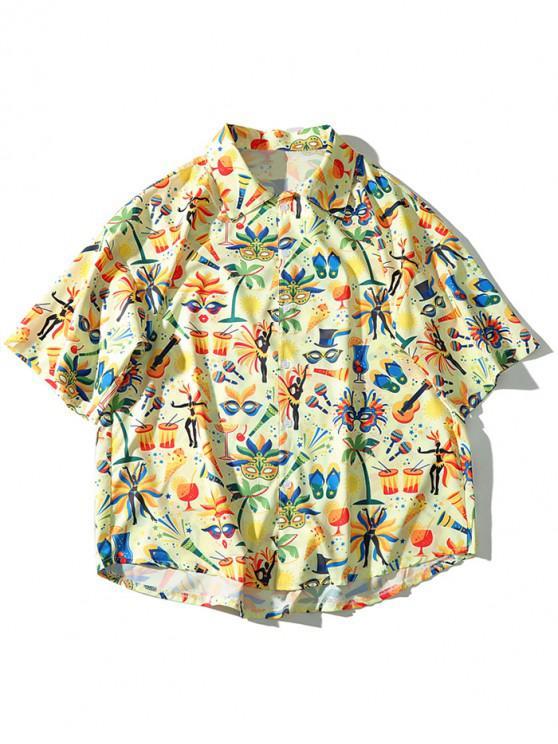 Camicia casual estiva da spiaggia con maschera e stampa hawaii - Multi Colori XL
