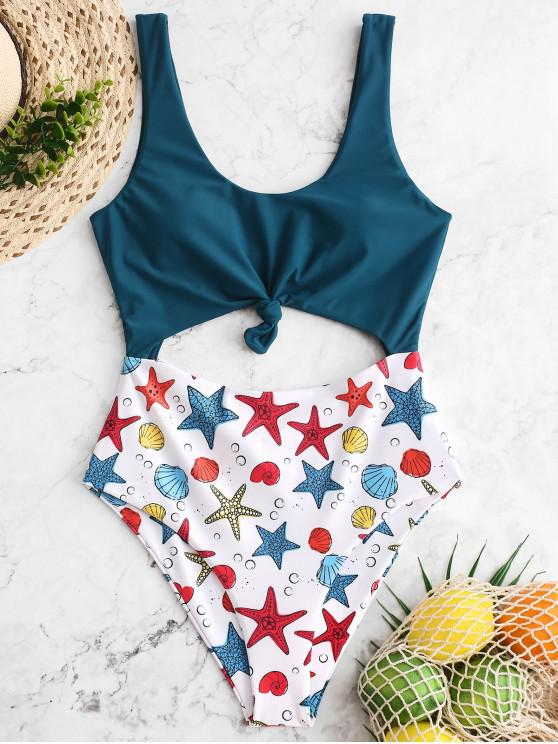 ladies ZAFUL Starfish Shell Print Knotted Monokini Swimsuit - PEACOCK BLUE M