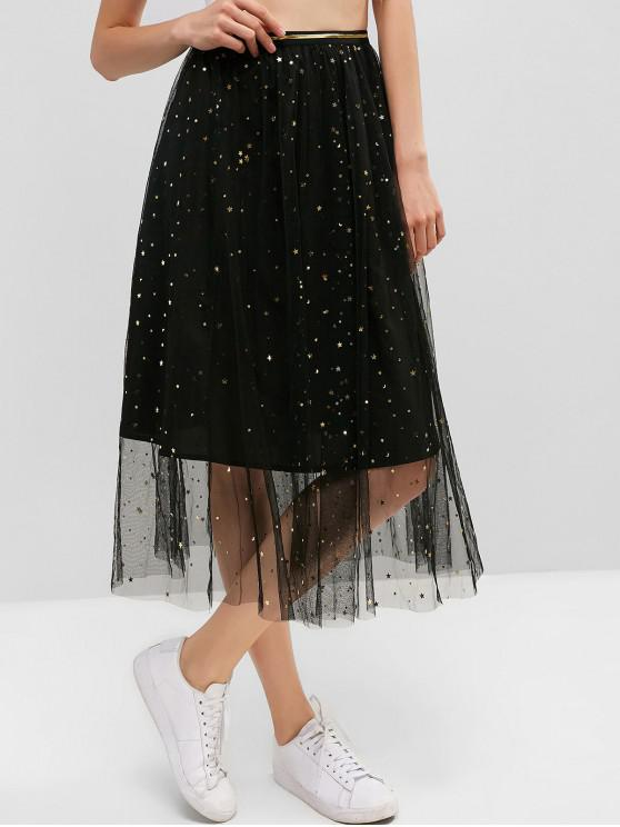 hot ZAFUL Moon and Star Starry Mesh A Line Skirt - BLACK L