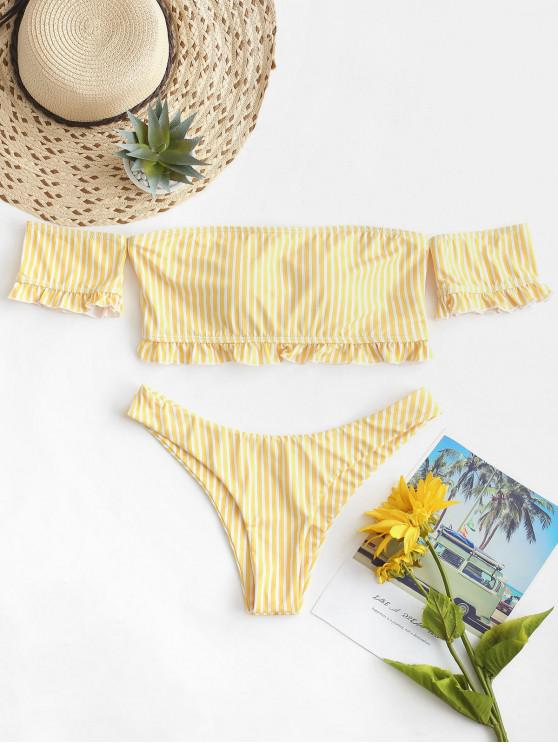 chic ZAFUL Striped Off Shoulder Lace Up Two Piece Swimsuit - CORN YELLOW S