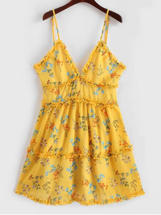 trendy Ruffle Trim Gingham Tiny Floral A Line Cami Dress - CORN YELLOW L