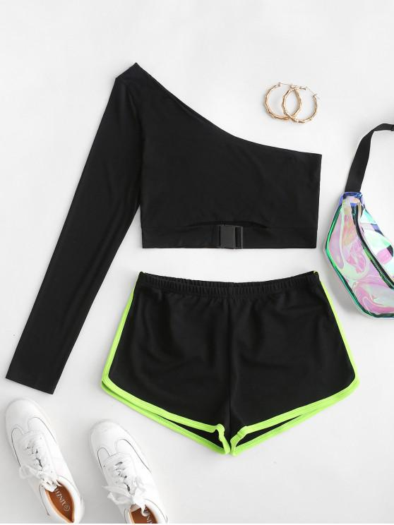 unique ZAFUL One Shoulder Buckle Two Piece Dolphin Shorts Set - BLACK S