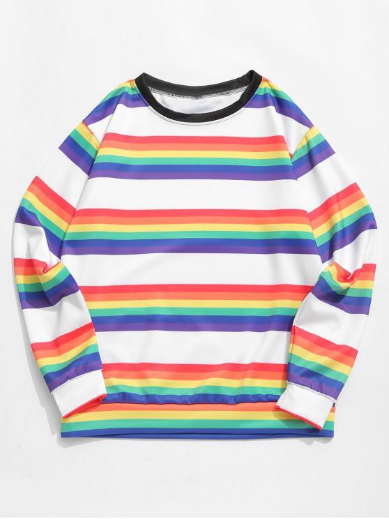 women's Rainbow Striped Print Round Neck Casual Sweatshirt - NATURAL WHITE 3XL