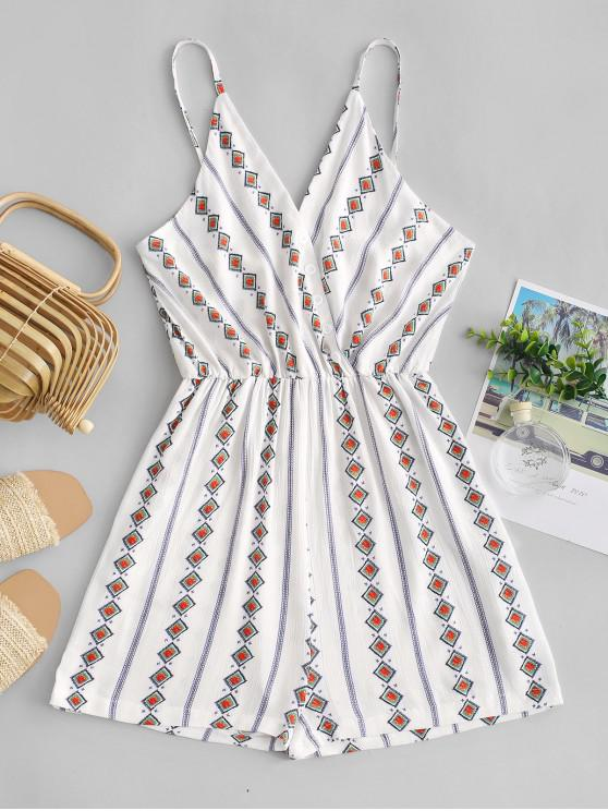 women Geometric Button Embellished Cami Pocket Romper - WHITE XL