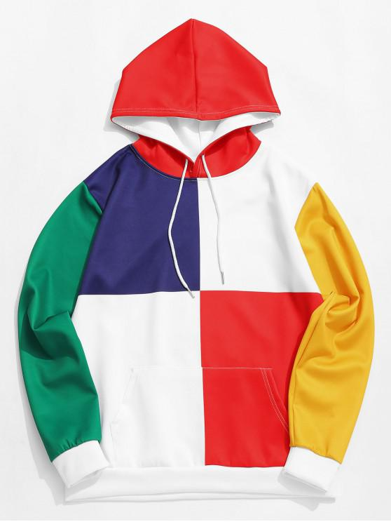 affordable Color Block Splicing Kangaroo Pocket Casual Hoodie - WHITE M