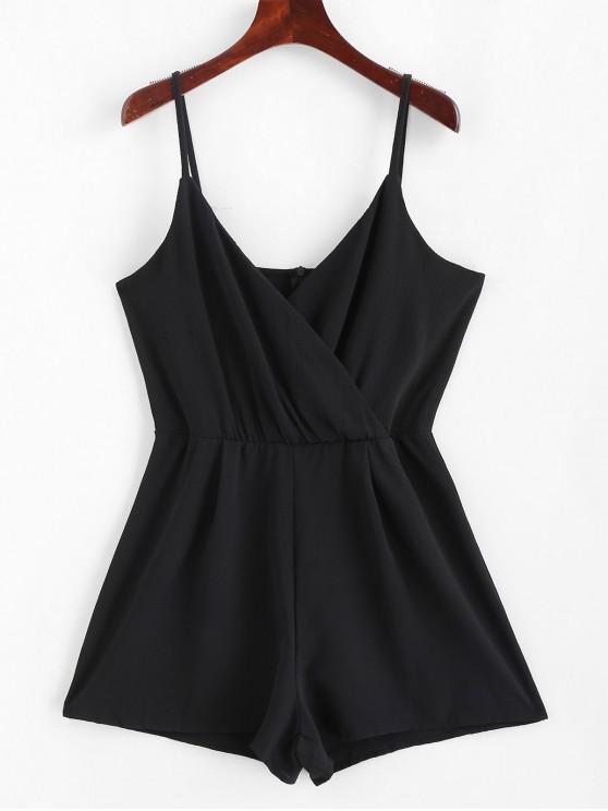 fancy Solid Surplice Cami Romper - BLACK M