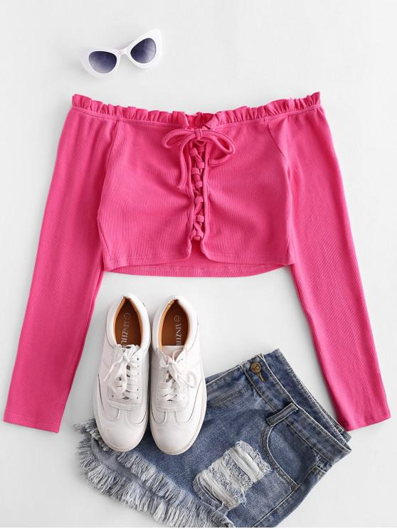 unique ZAFUL Ribbed Off Shoulder Lace Up Top - HOT PINK M