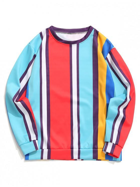 trendy Color Block Panel Vertical Stripes Print Casual Sweatshirt - BLUE ZIRCON 2XL