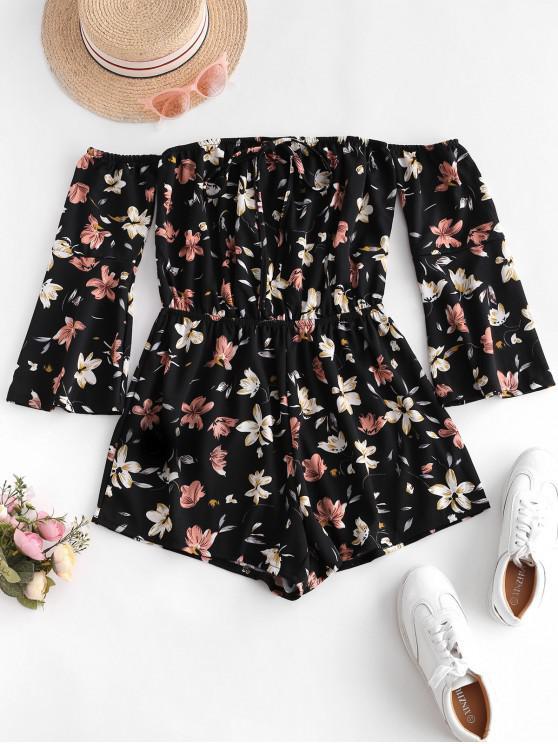fancy Tie Collar Off Shoulder Flare Sleeve Floral Romper - BLACK M