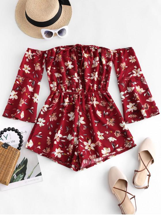 lady Tie Collar Off Shoulder Flare Sleeve Floral Romper - RED S