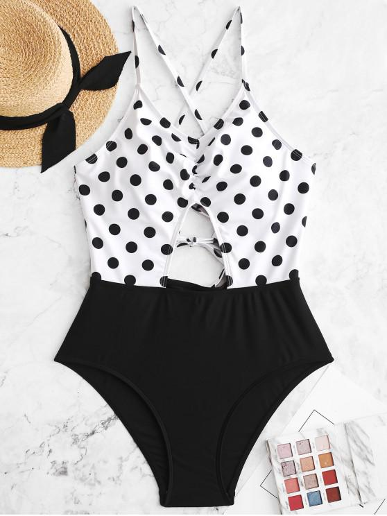 best ZAFUL Polka Dot Lace Up Cut Out Ruched Swimsuit - BLACK S