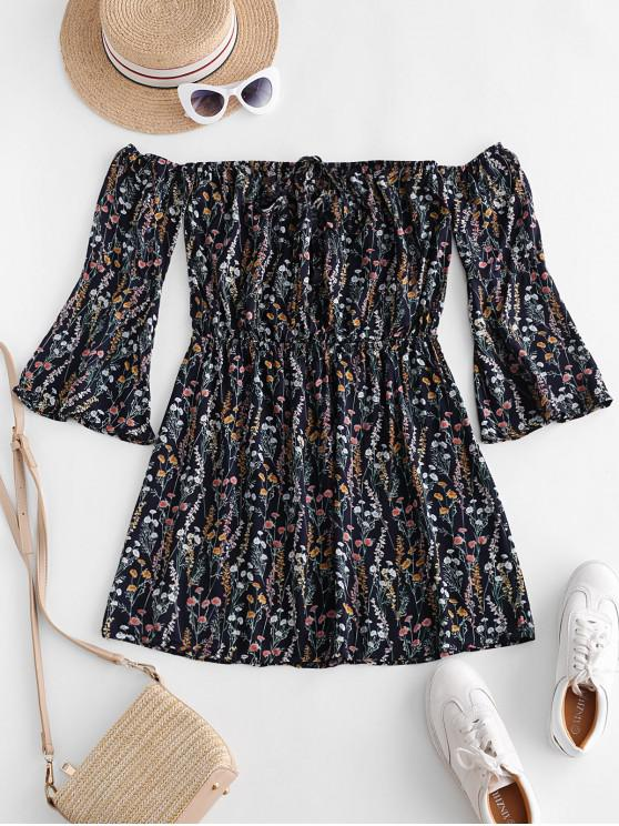outfits Flare Sleeve Ditsy Floral Off Shoulder Dress - MULTI-A S