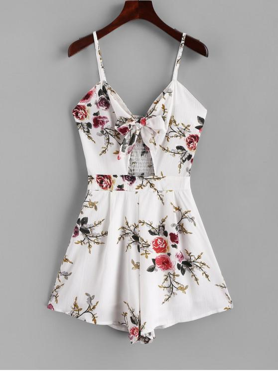 women Smocked Back Floral Tie Front Cami Romper - WHITE M