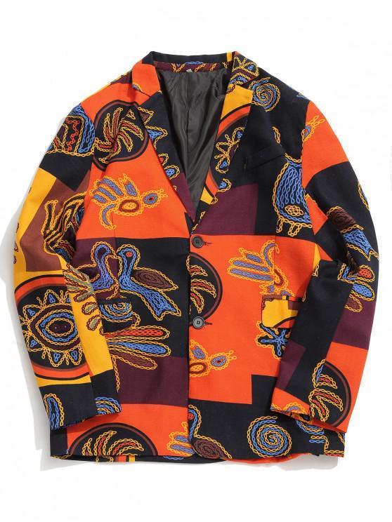 Blazer casual con stampa a blocchi di colore grafico a catena tribale etnica - Giallo 3XL