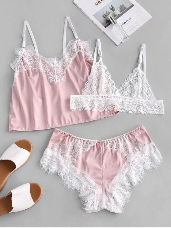 shop Lace Insert Eyelash Three Pieces Pajama Set - PIG PINK L