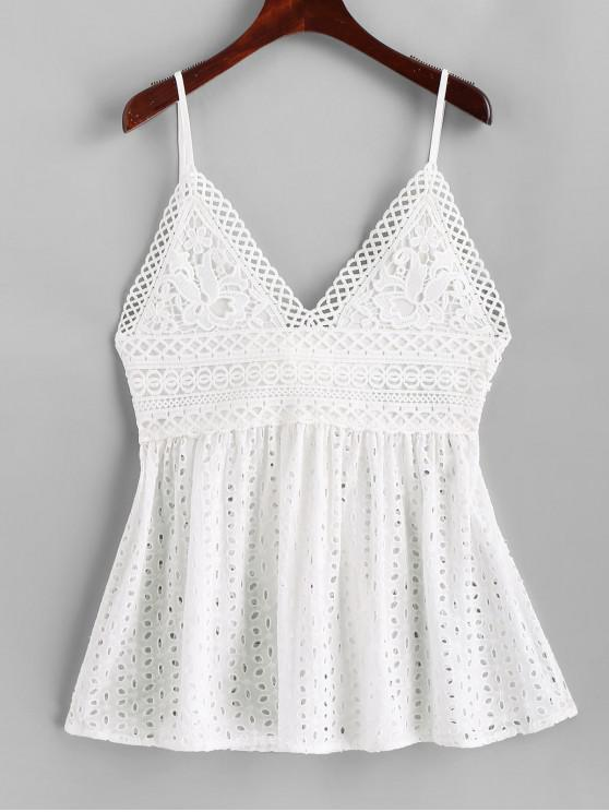 fashion Lace Panel Eyelet Knotted Cami Top - WHITE L