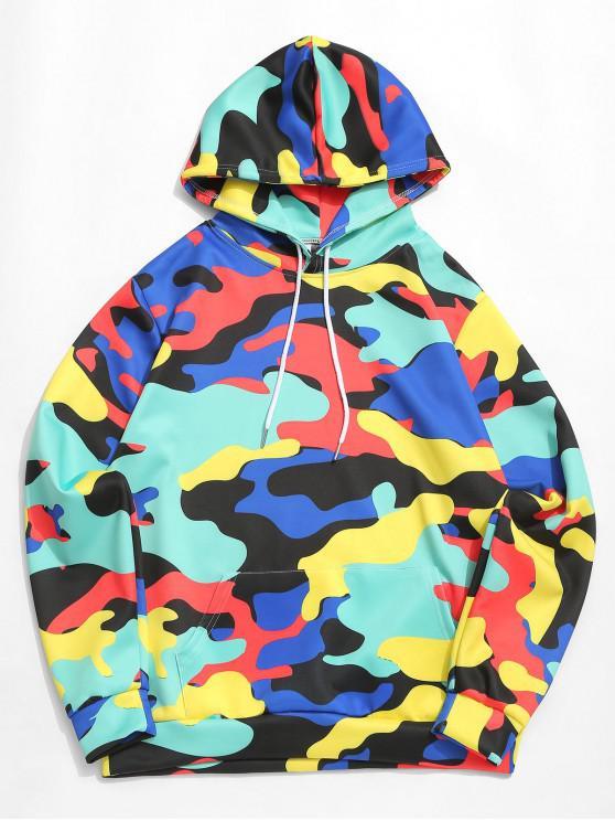 affordable Colorful Camouflage Print Kangaroo Pocket Casual Hoodie - LIGHT AQUAMARINE 2XL