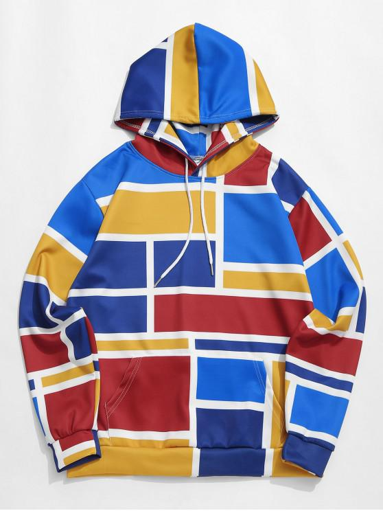 fashion Kangaroo Pocket Color Block Splicing Casual Hoodie - MULTI-A L