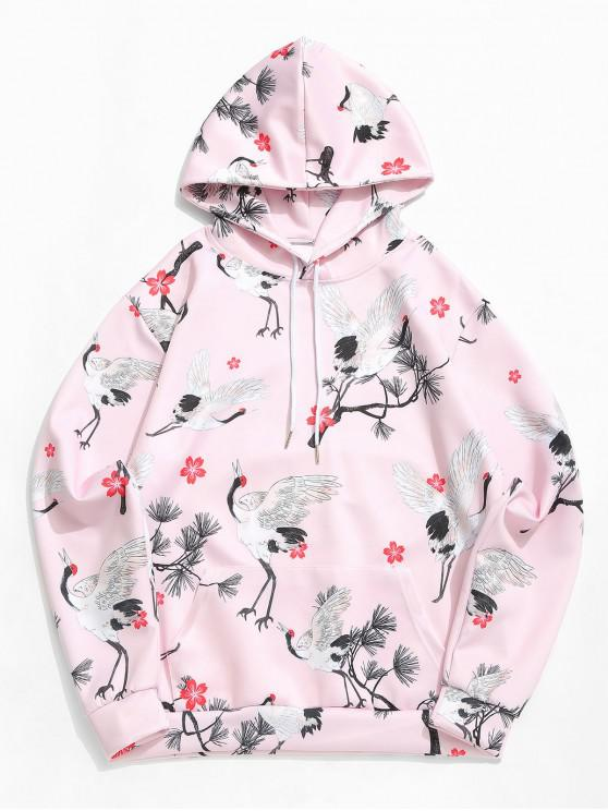 lady Plum Blossom Fly Crane Allover Print Kangaroo Pocket Hoodie - PIG PINK 4XL