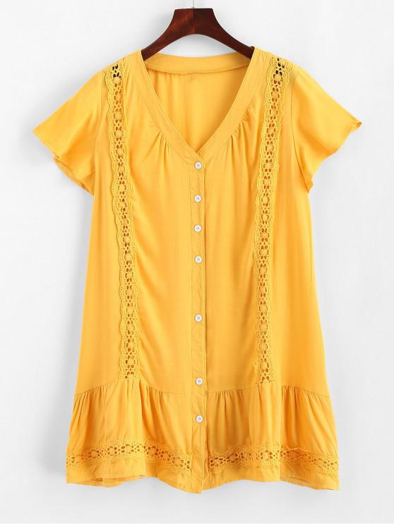 best Lace Trim Button Up Mini Dress - YELLOW M