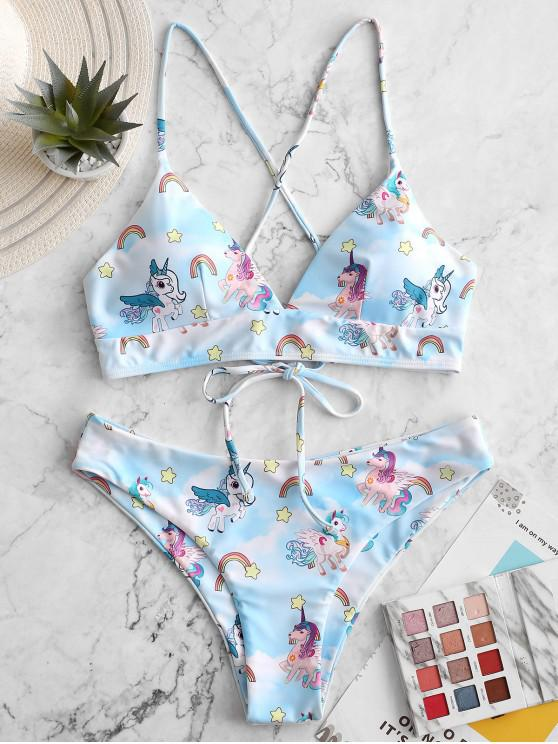 ZAFUL Unicorn Rainbow Star Print Lace Up Bikini Traje de baño - Multicolor-A S