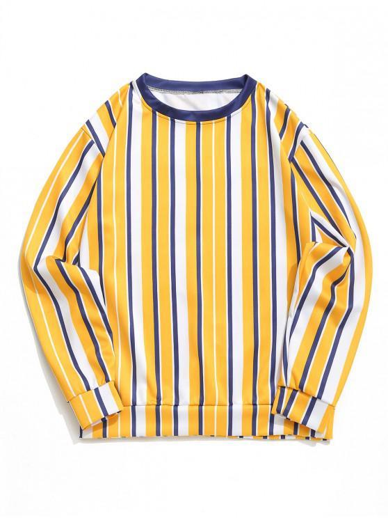 lady Color Block Vertical Striped Print Casual Sweatshirt - MUSTARD L