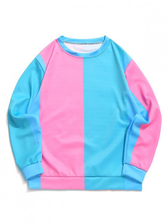 Color Blocking Splicing Panel Casual Pullover Sweatshirt - Turquesa Oscura 3XL