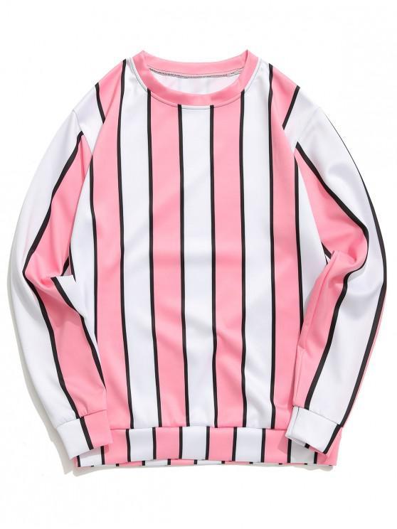 shop Color Block Vertical Stripes Print Casual Pullover Sweatshirt - PIG PINK M