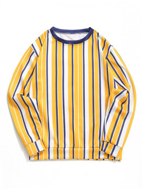 chic Color Block Vertical Striped Print Casual Sweatshirt - MUSTARD XL