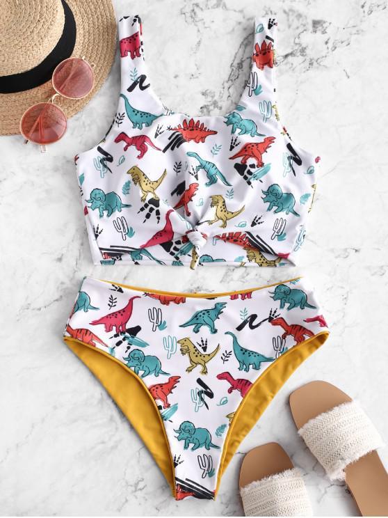 unique ZAFUL Dinosaur Print Knot Reversible Tankini Swimsuit - ORANGE GOLD L