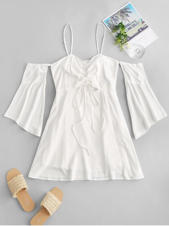 outfits ZAFUL Cold Shoulder Flare Sleeve Cinched Mini Dress - MILK WHITE S
