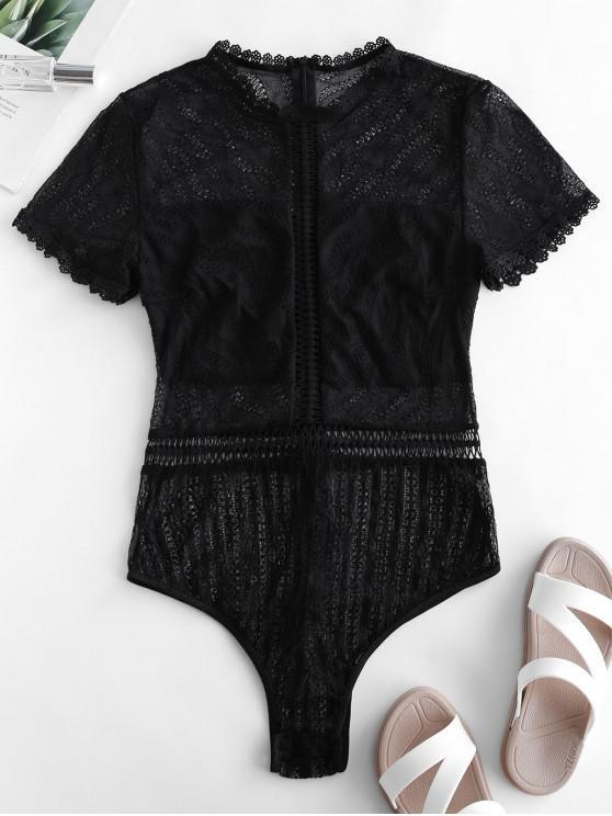 fancy Mock Neck Lace Short Sleeve Lingerie Teddy - BLACK L