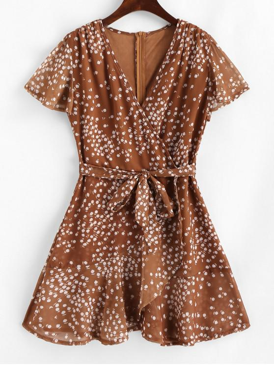 hot Ruffles Tiny Floral Belted Surplice Dress - ORANGE SALMON S